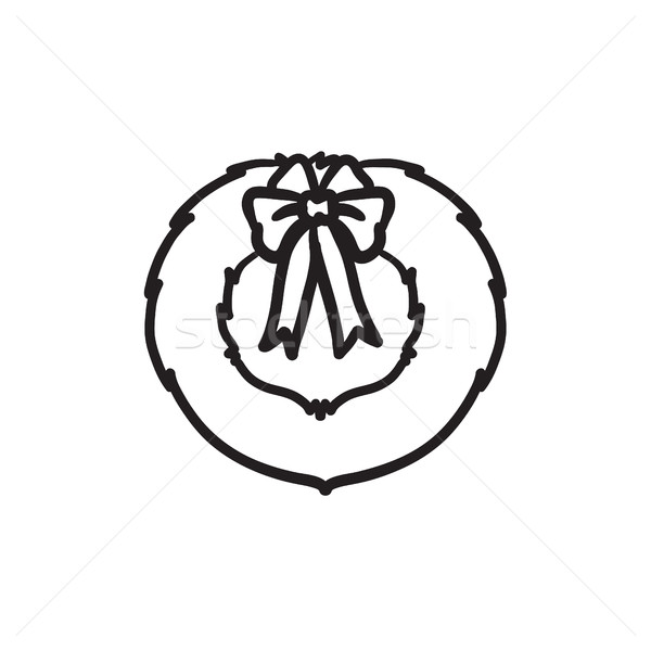 Foto stock: Navidad · corona · boceto · icono · vector · aislado
