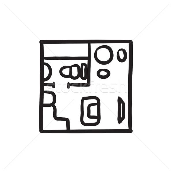 Meble szkic ikona wektora odizolowany Zdjęcia stock © RAStudio