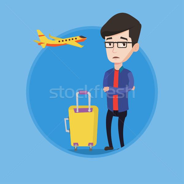Stockfoto: Jonge · man · lijden · angst · vliegen · vliegtuig · bange