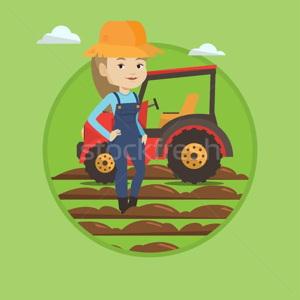 Landbouwer permanente trekker zomer hoed grond Stockfoto © RAStudio