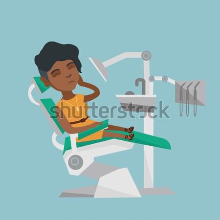 Stock fotó: Nő · szenvedés · fogászati · szék · kaukázusi · beteg