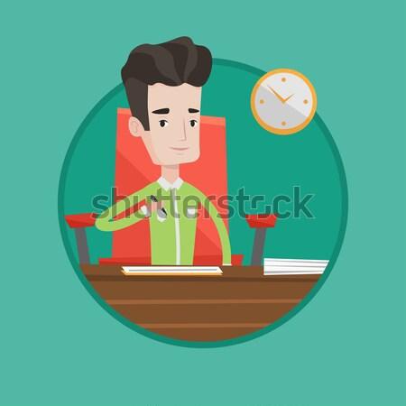 Aláírás üzlet iratok üzletasszony szerződés iroda Stock fotó © RAStudio