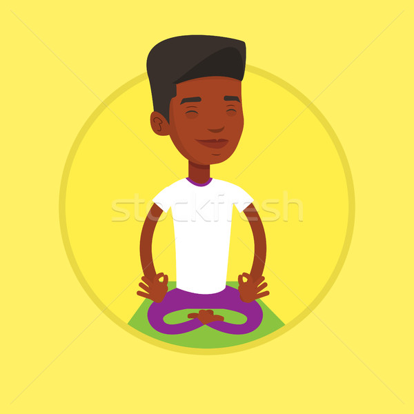 Stock photo: Man meditating in lotus pose vector illustration.
