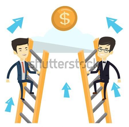 Kettő üzletemberek versenyző pénz fiatal ázsiai Stock fotó © RAStudio