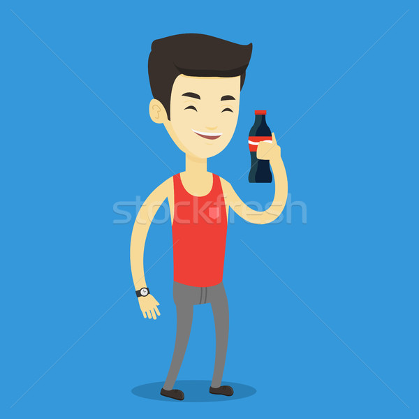 Young man drinking soda vector illustration. Stock photo © RAStudio