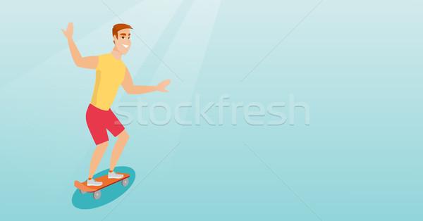 Młodych człowiek jazda konna deskorolka wesoły Zdjęcia stock © RAStudio