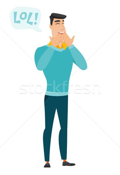 小さな 白人 ビジネスマン 笑い 外に 騒々しい ストックフォト © RAStudio