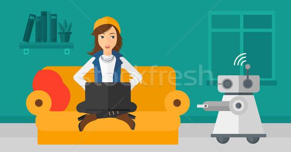 白人 エンジニア プログラミング ロボット 小さな 女性 ストックフォト © RAStudio
