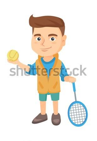 Kaukázusi teniszező tart ütő labda kicsi Stock fotó © RAStudio