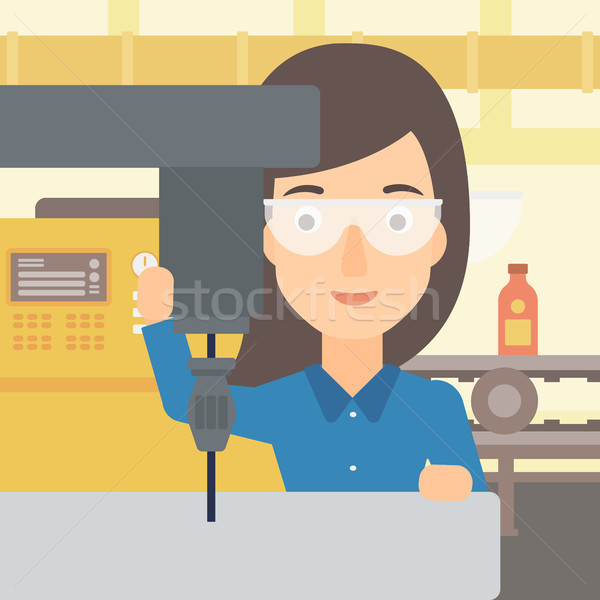 Woman working with boring mill. Stock photo © RAStudio