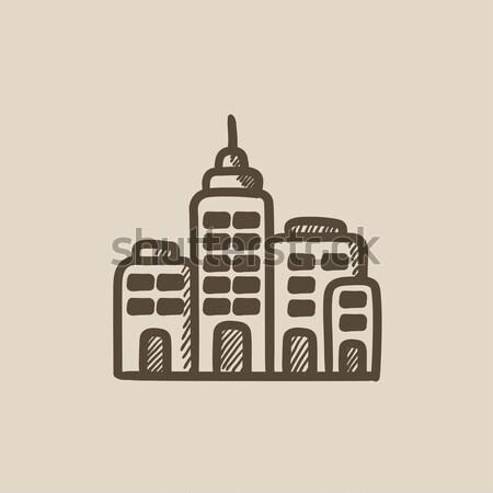 жилой зданий эскиз икона вектора изолированный Сток-фото © RAStudio