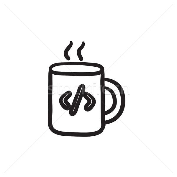 Fincan kahve kod imzalamak kroki ikon Stok fotoğraf © RAStudio