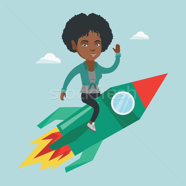 Fiatal nő repülés üzlet kezdet felfelé rakéta Stock fotó © RAStudio