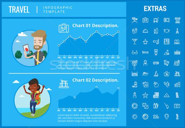 Utazás infografika sablon elemek ikonok testreszabható Stock fotó © RAStudio