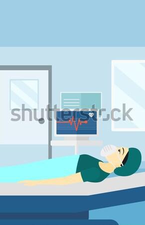 Beteg kórházi ágy szív monitor férfi oxigénmaszk Stock fotó © RAStudio