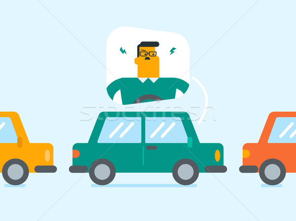 Angry caucasian man in car stuck in traffic jam. Stock photo © RAStudio