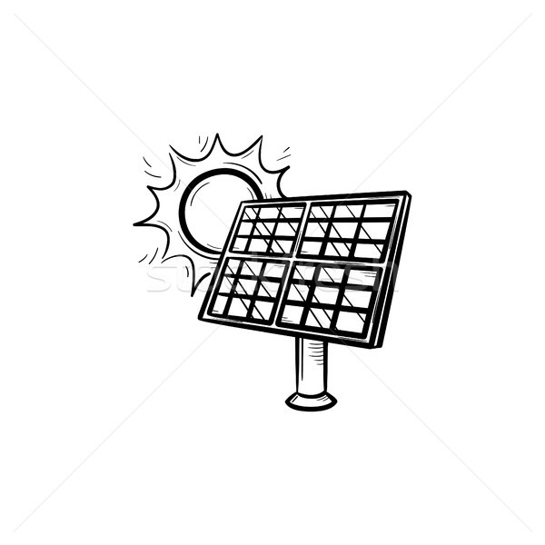Solar energy industry hand drawn sketch icon. Stock photo © RAStudio