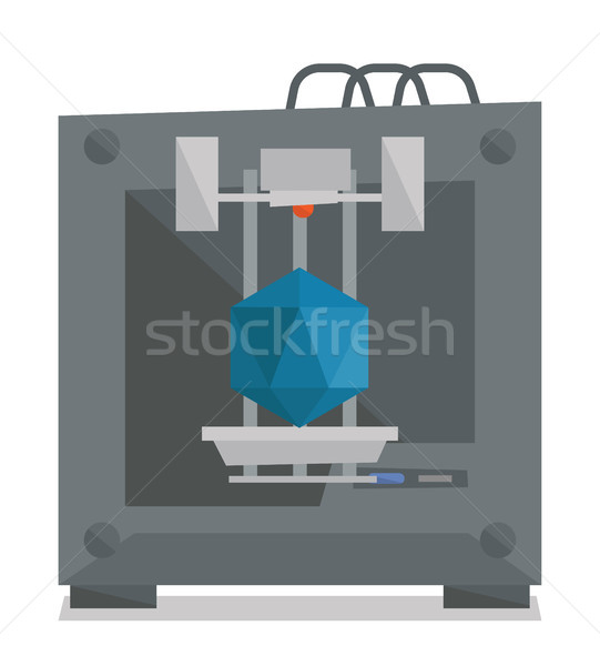 Tree D printer vector illustration. Stock photo © RAStudio