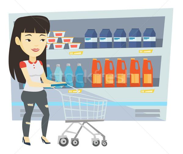 Сток-фото: клиентов · Корзина · азиатских · женщину · ходьбе · корзины