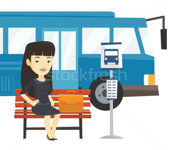 Iş kadını bekleme otobüs durağı Asya genç oturma Stok fotoğraf © RAStudio