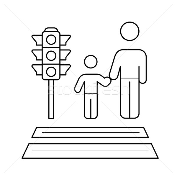 Child and parent crossing a sidewalk line icon. Stock photo © RAStudio