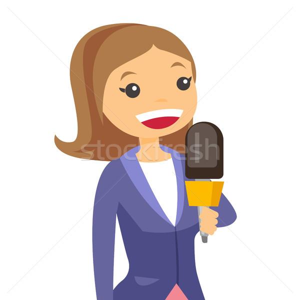 Telewizja reporter operatora zawodowych kobiet Zdjęcia stock © RAStudio