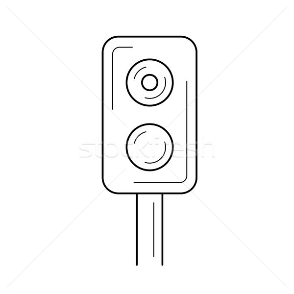 Train traffic light line icon. Stock photo © RAStudio