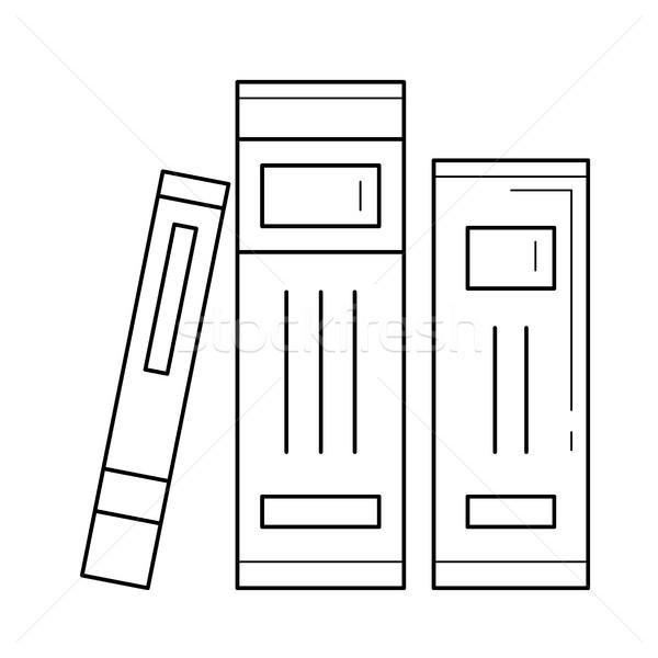 école livres littérature vecteur ligne icône Photo stock © RAStudio