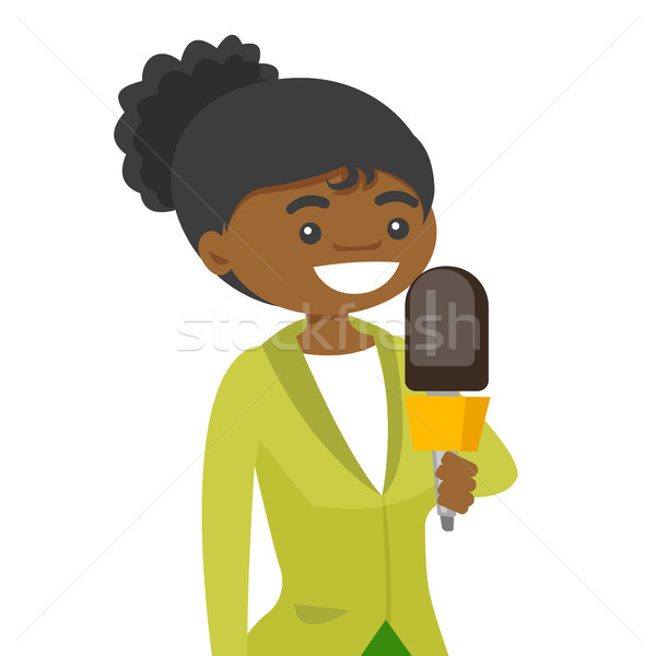 African-american TV reporter with a microphone. Stock photo © RAStudio