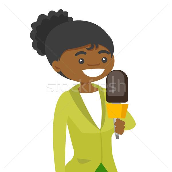 Telewizja reporter mikrofon młodych kobiet Zdjęcia stock © RAStudio