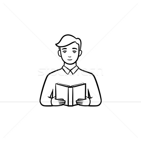 Student reading a book hand drawn sketch icon. Stock photo © RAStudio