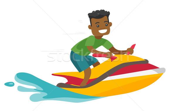黒人男性 ライディング ジェットスキー スクーター 海 夏 ストックフォト © RAStudio