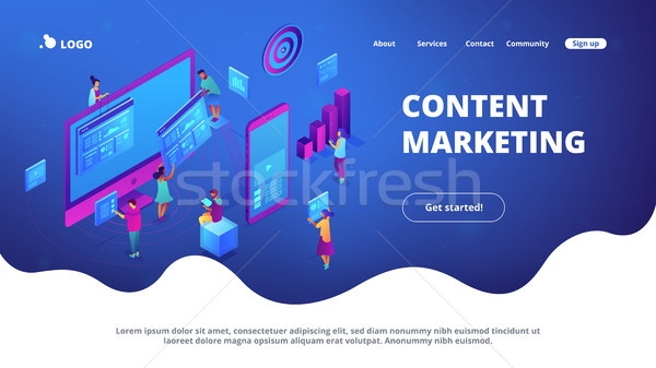 Isometric content marketing landing page. Stock photo © RAStudio