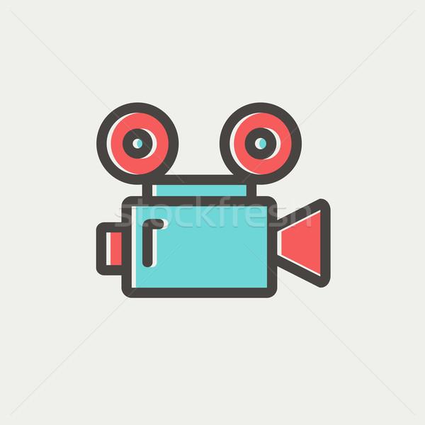 Filmezés vékony vonal ikon háló mobil Stock fotó © RAStudio