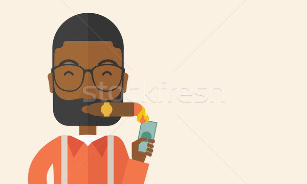 Stock photo: African-american Businessman lighting the cigar tobacco.