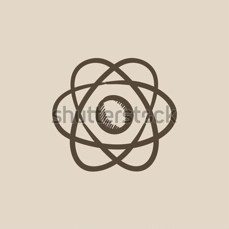 átomo fino linha ícone teia móvel Foto stock © RAStudio
