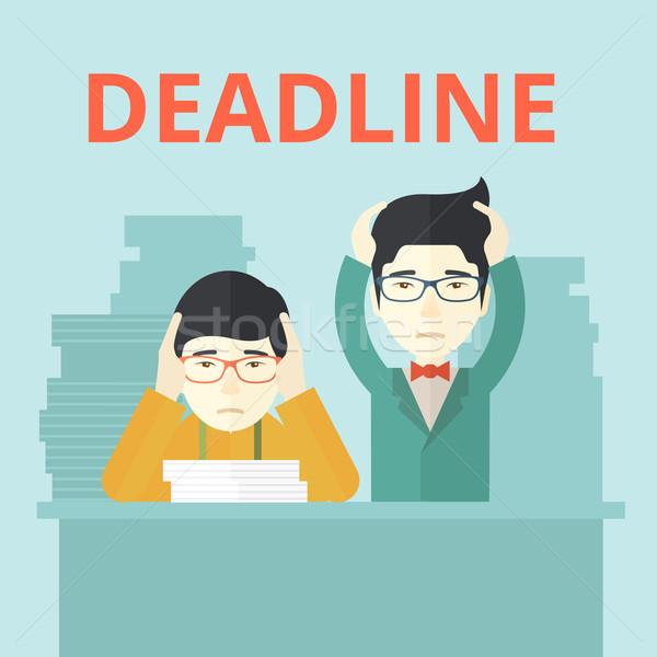Stock fotó: Kettő · hangsúlyos · ázsiai · alkalmazottak · kiégés · probléma