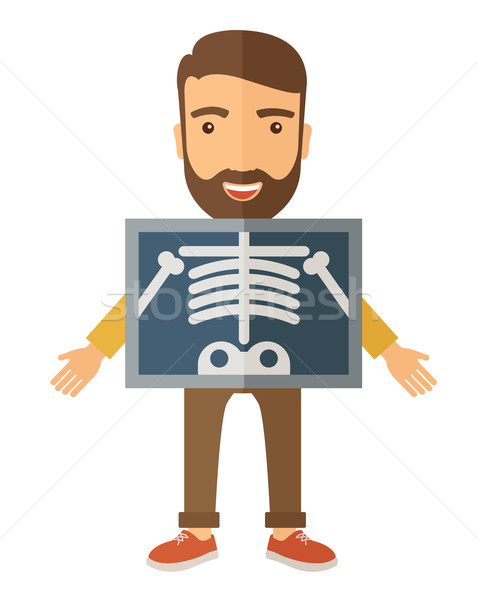The view of man is holding a X-ray picture Stock photo © RAStudio