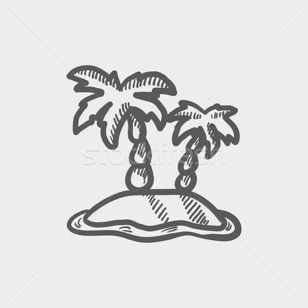 два деревья эскиз икона веб мобильных Сток-фото © RAStudio