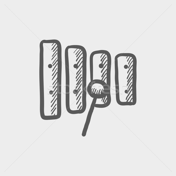 Xylophone with mallet sketch icon Stock photo © RAStudio