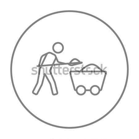 Mining worker with trolley line icon. Stock photo © RAStudio