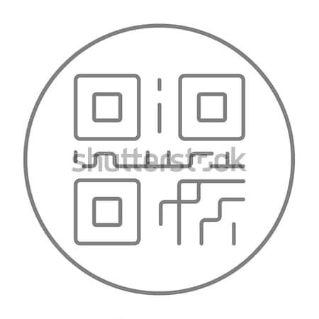 Código qr línea icono web móviles infografía Foto stock © RAStudio