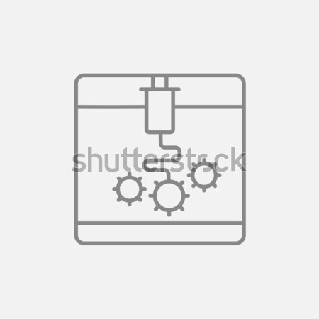 Fa nyomtatás vonal ikon háló mobil Stock fotó © RAStudio