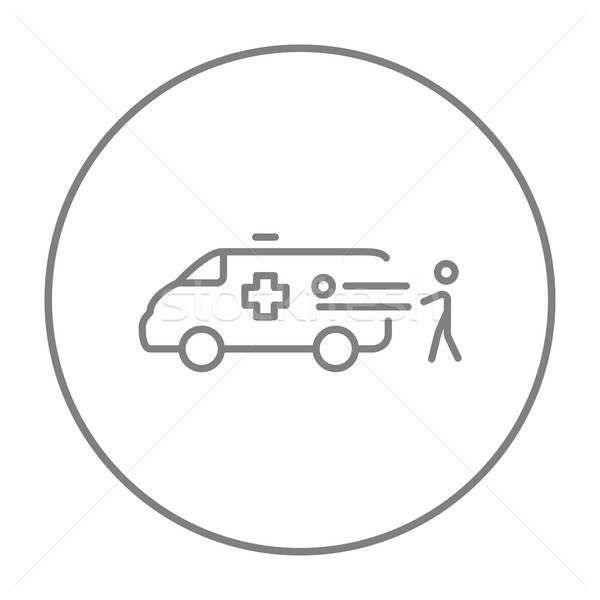 Foto d'archivio: Uomo · paziente · ambulanza · auto · line · icona