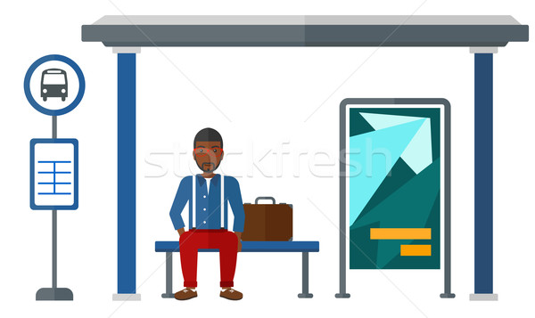 Man waiting for bus. Stock photo © RAStudio