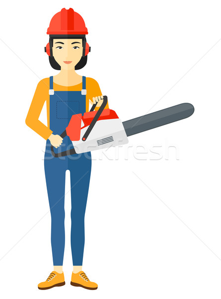 Lumberjack with chainsaw. Stock photo © RAStudio