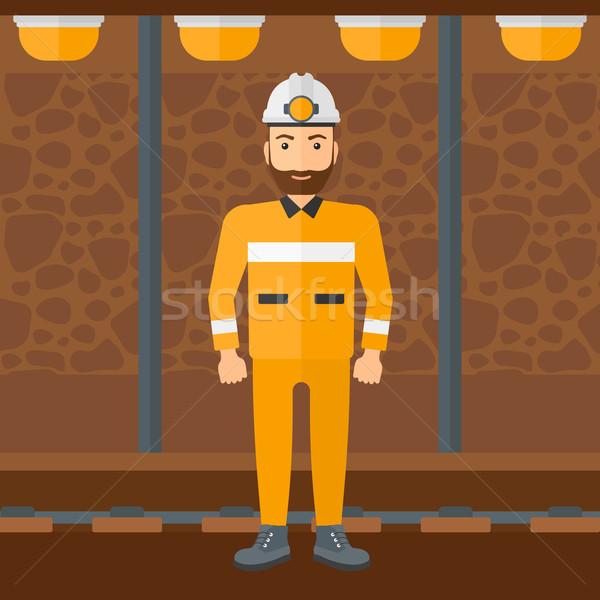 Homme barbe lampe de poche minière Photo stock © RAStudio