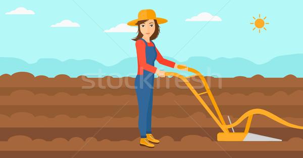 Gazda mező eke nő mezőgazdasági vektor Stock fotó © RAStudio