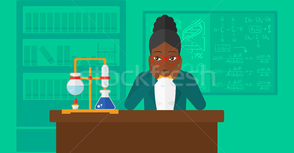 Mulher desespero cabeça química laboratório vetor Foto stock © RAStudio