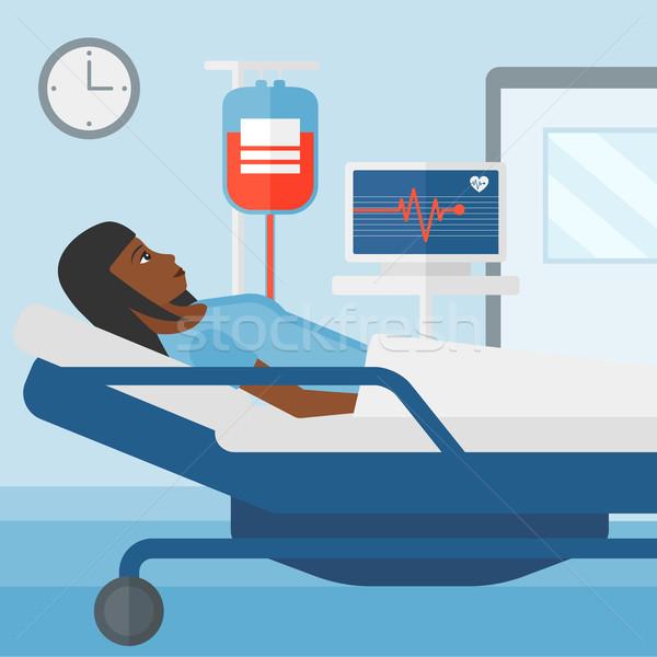 Beteg kórházi ágy nő kórház szívritmus monitor Stock fotó © RAStudio